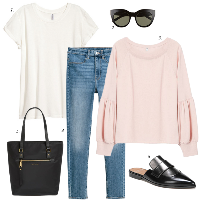 pink sweatshirt, black mules, casual women outfit