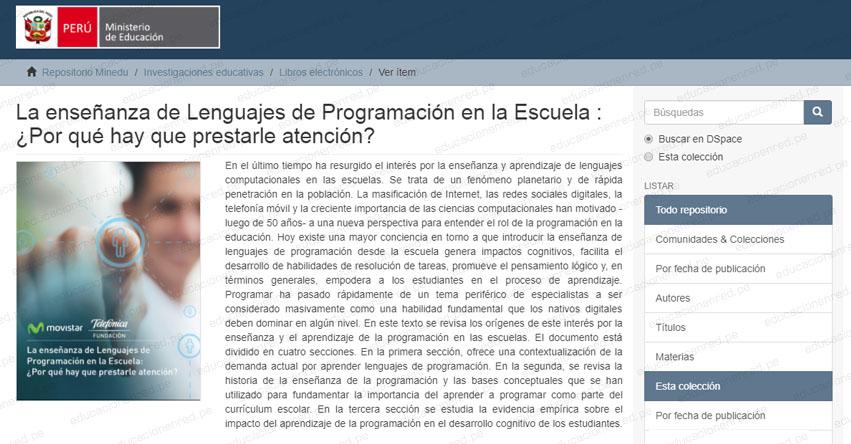 LA ENSEÑANZA DE LENGUAJES DE PROGRAMACIÓN EN LA ESCUELA: ¿Por qué hay que prestarle atención? (.PDF)