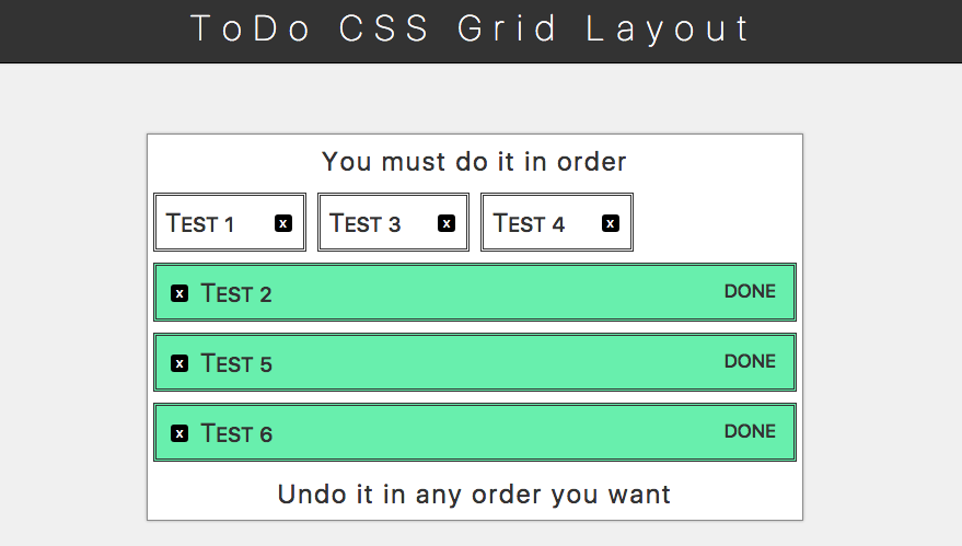 todo list with CSS Grid Layout inside
