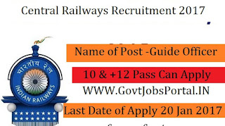 Central Railway Recruitment 2017 For Guide Officer Posts