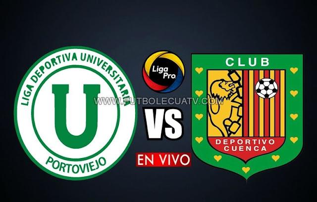 Liga de Portoviejo recibe a Deportivo Cuenca en vivo por la fecha 2 del campeonato ecuatoriano, a jugarse en el Estadio Reales de Tamarindo ciudad de manta a partir de las 19:15 hora local. Siendo el árbitro principal Roddy Zambrano con emisión en directo del canal autorizado GolTV Ecuador.