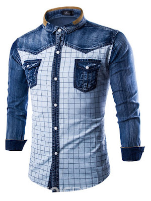 Color Block Patched Denim Casual Men's Shirt