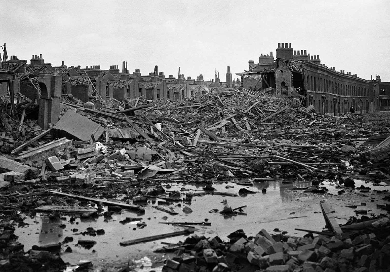 A scene of devastation in the Dockland area of London attacked by German bomber on September 17, 1940.