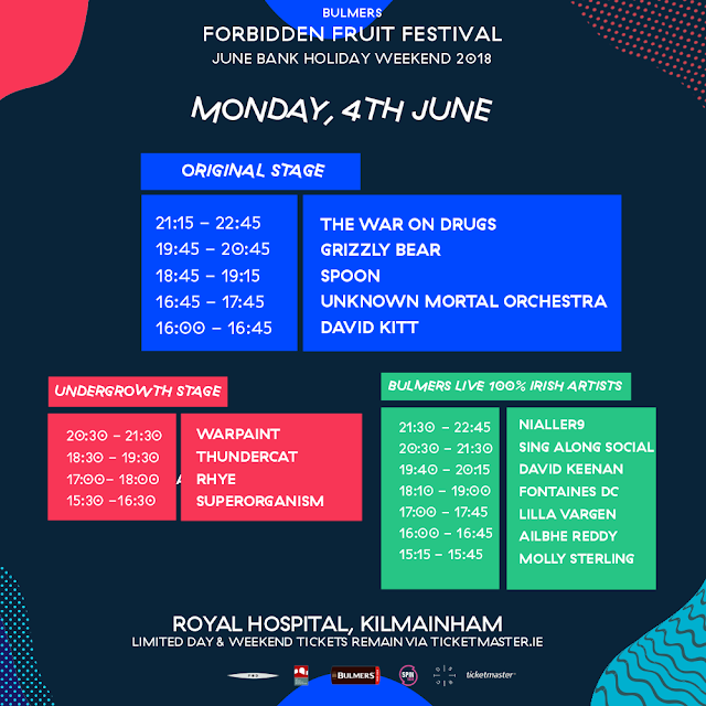 FORBIDDEN FRUIT 2018 Monday - Stage Times