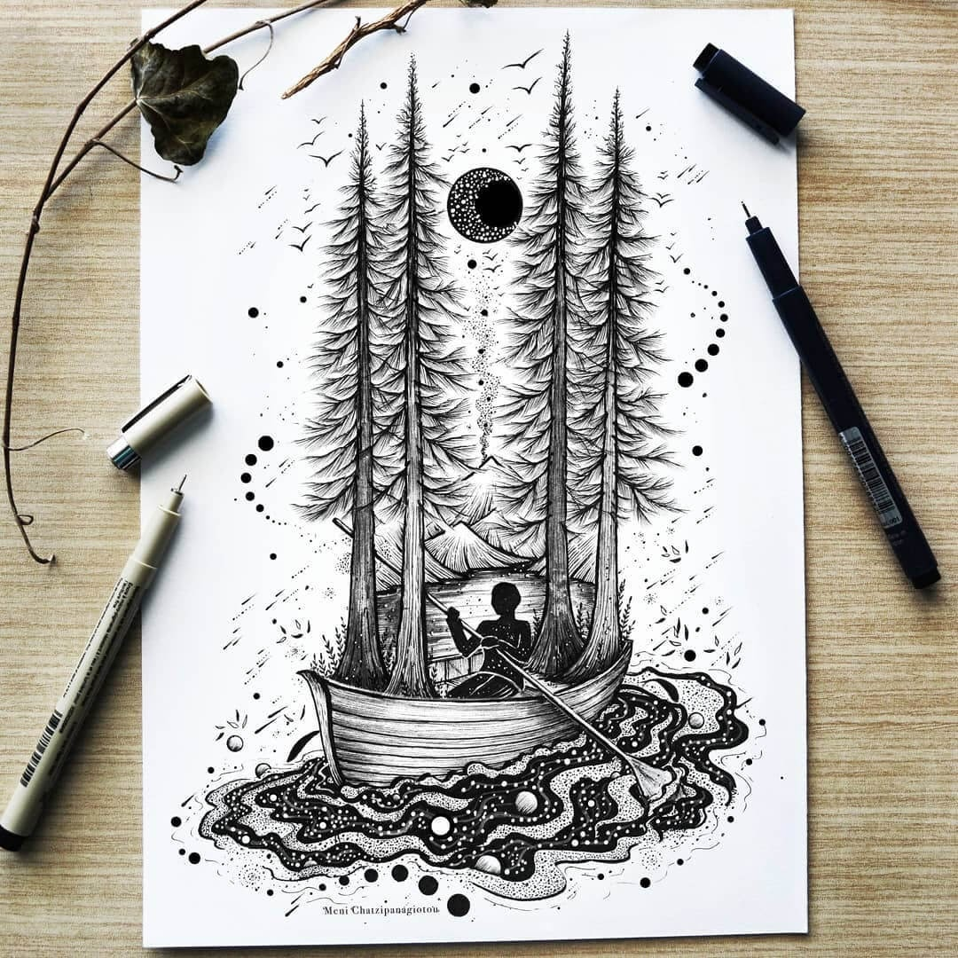 07-The-Boatman-Meni-Chatzipanagiotou-Fantasy-and-Surreal-Ink-Illustrations-www-designstack-co