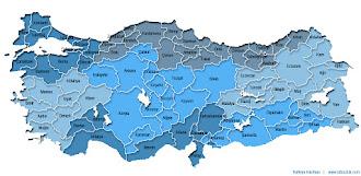 Mavi renk ve tonlarında boyanmış Türkiye İller ve Bölgeler Haritası