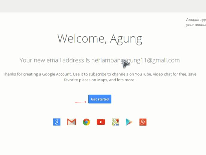 Email gmail berhasil dibuat