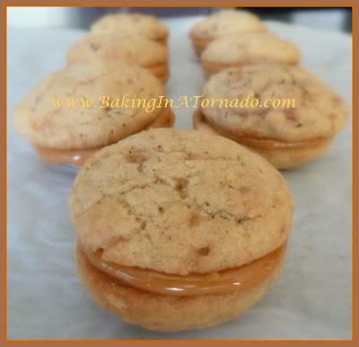 Toffee Pecan Sandwich Cookies | www.BakingInATornado.com | #recipe #bake