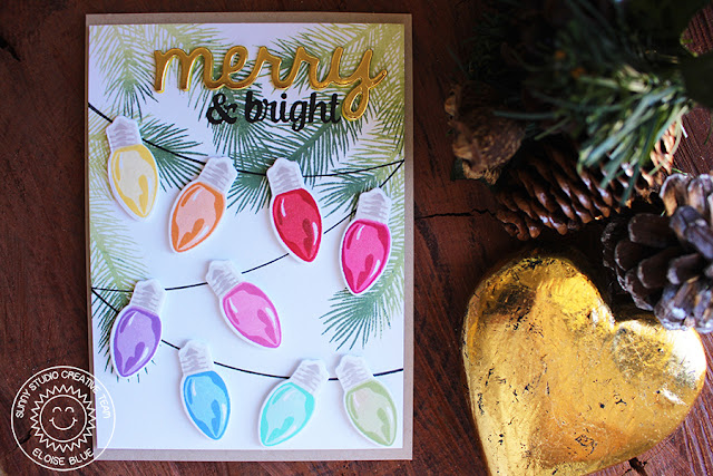 Sunny Studio Stamps: Merry Sentiments and Holiday Style Rainbow Lights Card by Eloise Blue.