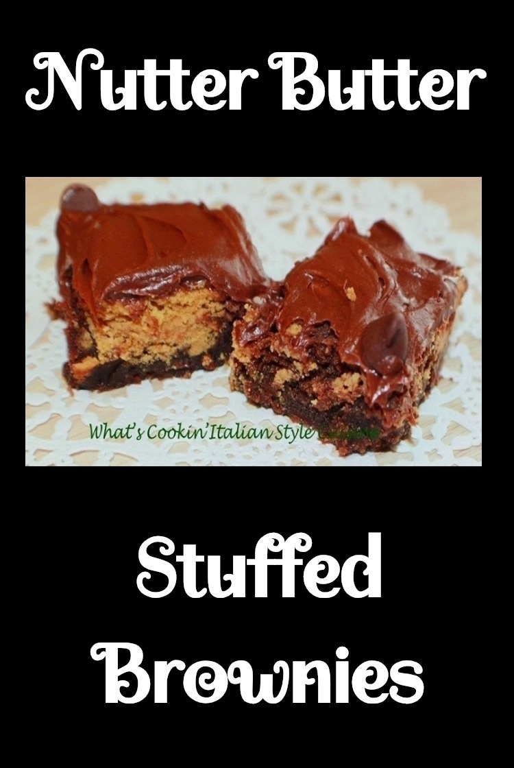 these are a boxed brownie mix turned into a gourmet brownie. These semi homemade brownies are stuffed with nutter butter cookies baked then frosted with canned chocolate frosting. These are easy fast and simple brownies stuffed with a favorite childhood cookie on a white doilies
