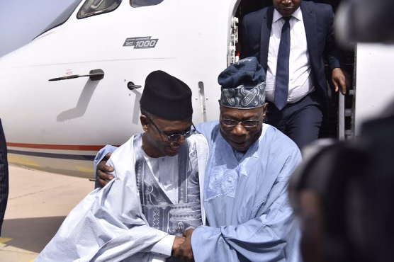 Governor El-Rufia receive Former President Olusegun Obasanjo at Kaduna International Airport