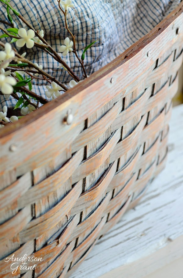 A great decorative basket made from a broken picnic basket | www.andersonandgrant.com