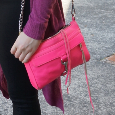neon pink hot Rebecca Minkoff mini MAC cross body bag purple cardi | AwayFromTheBlue