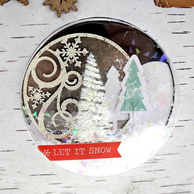 Embossed Artist Trading Coin Winter Shaker Card Feature by Dana Tatar