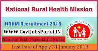 National Rural Health Mission Recruitment 2018 – Psychiatric Nurse, Record Keeper