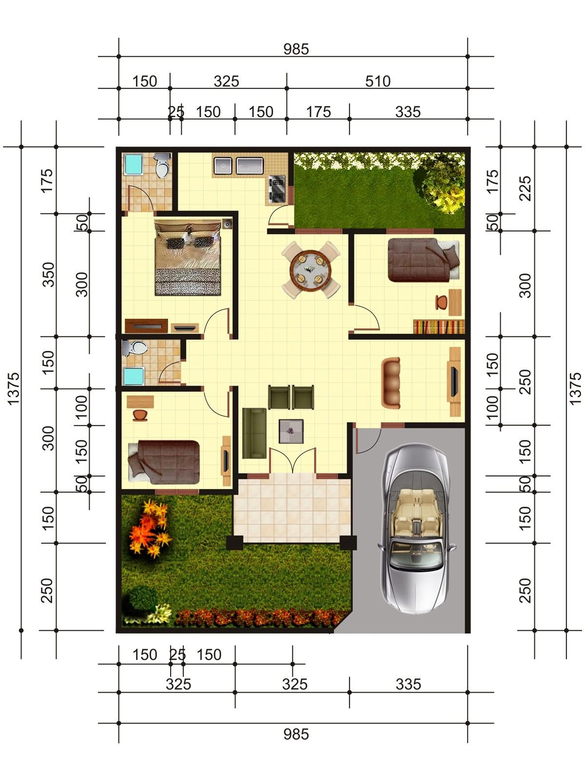 gambar denah rumah kecil minimalis 1