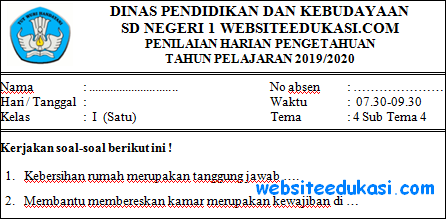 Soal PH Kelas 1 Tema 4 Subtema 4