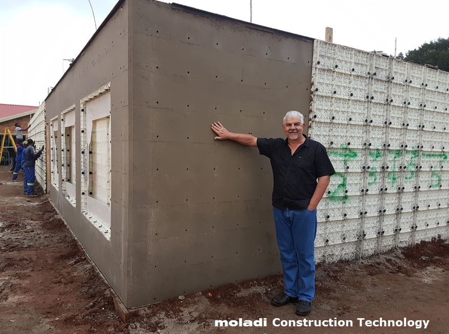 Worlds smallest formwork module moladi for Low cost housing construction techniques