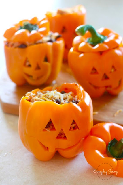 Halloween Shredded Chicken and Rice Stuffed Peppers