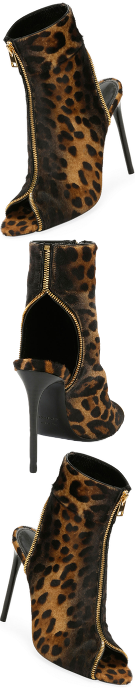 TOM FORD Leopard-Print Zip Peep-Toe Bootie, Black