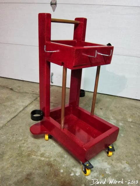welding cart, wood, welder, wheels
