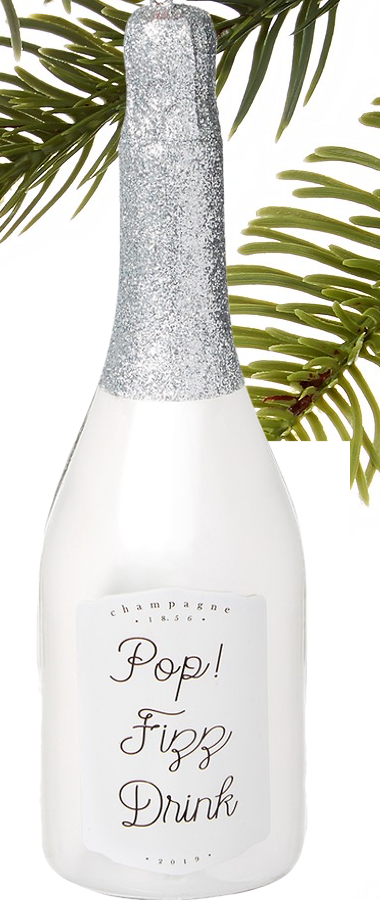Holiday Lane Spirits Silver-Champagne Bottle Ornament