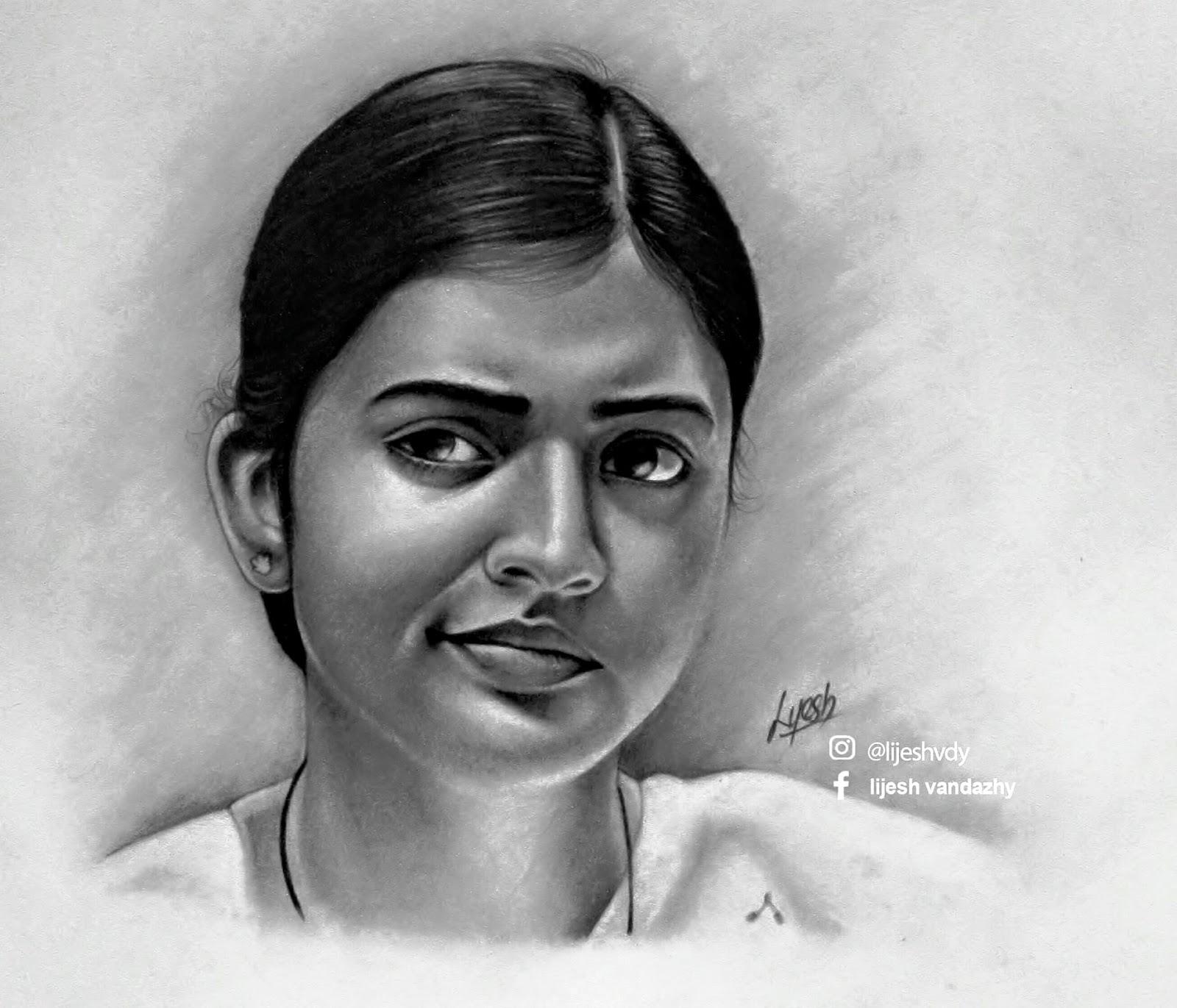 pencil drawing Nazriya Nazim