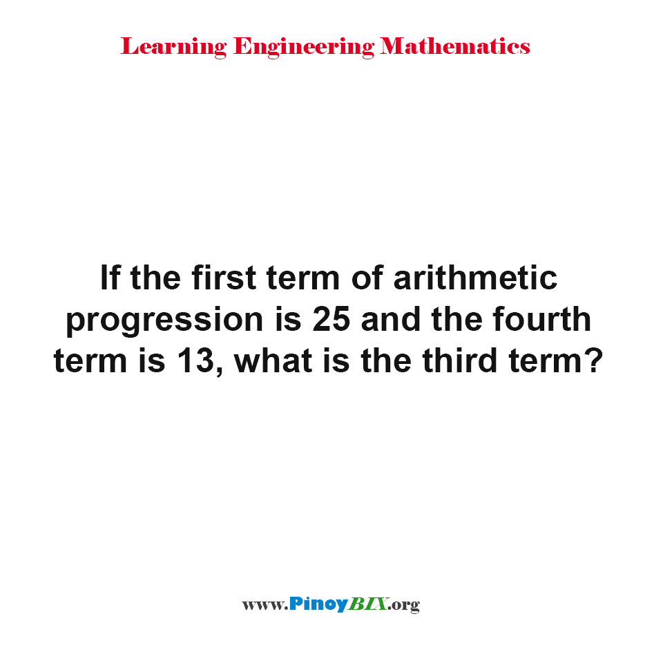 What is the third term in the arithmetic progression?