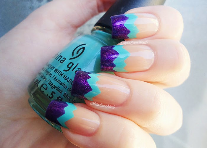 Aqua purple chevron french tips