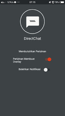 Chat head dan balon obrolan whatsapp