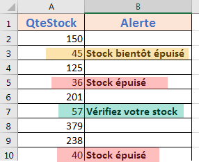 Exemple d'utilisation de la fonction SI.CONDITIONS