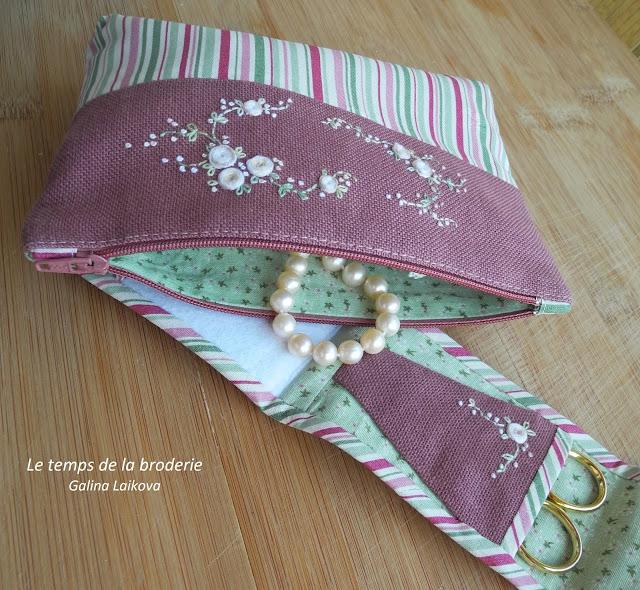 Atalie, розы, вышивка, косметичка и швейный органайзер