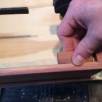 "Using a scrap piece of 1/2"" cedar, make sure that the birch strip is attached 1/2"" below the top of the lid"
