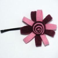 Horquilla fieltro rosa y granate. VENDIDA