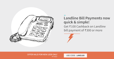 Pay your first bill online at FreeCharge and get Rs.100 Cashback on landline bill payment of Rs.300 or more.