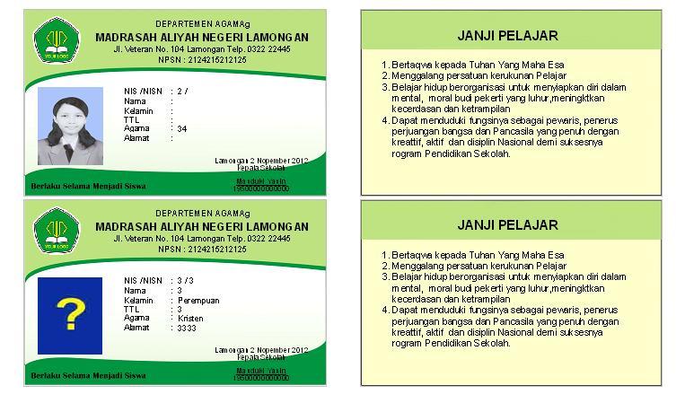 Aplikasi Kartu Siswa Standrat Student Card - IchaSoft ...