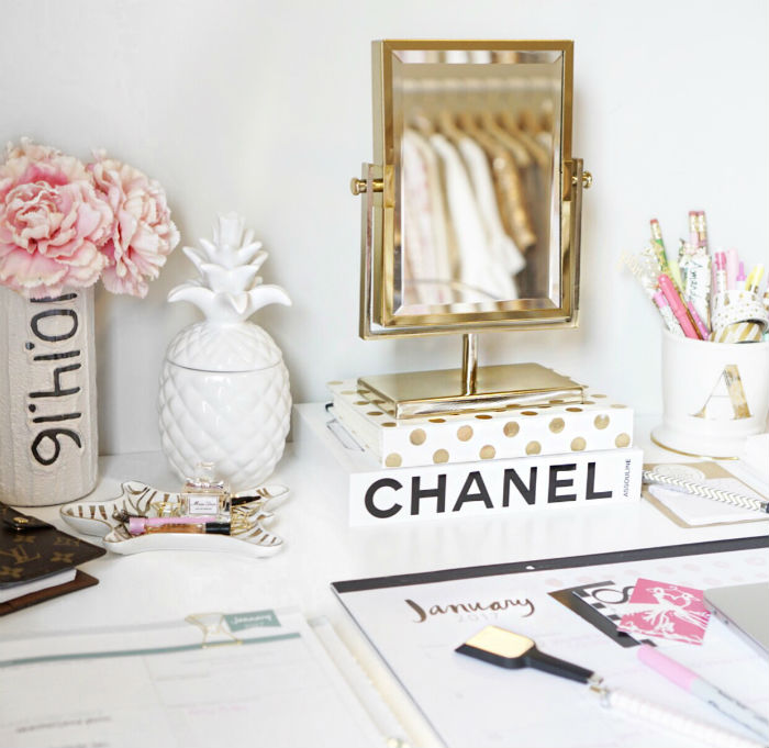 desk diaries, office tour, desk tour, school supplied, chic desk inspiration, gold desk inspiration