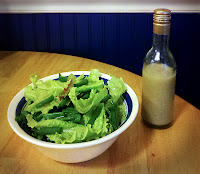 Fresh garden salad and homemade lower fat vinaigrette bottle
