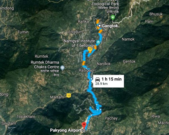 ROUTE TO PAKYONG AIRPORT FROM GANGTOK