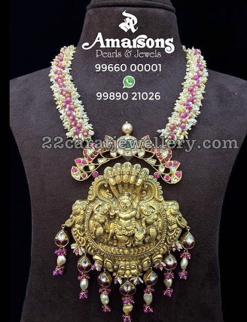 Lord Krishna Pendant with Rice Pearls Chain