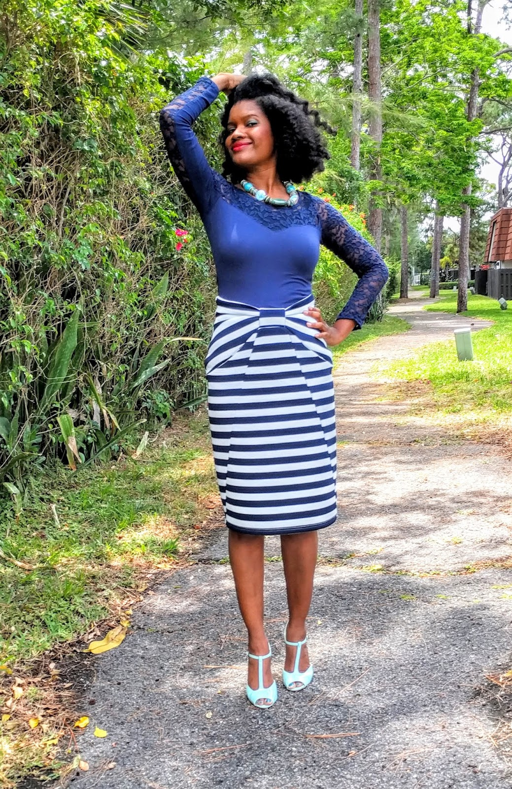 20cd6472493 I love navy and mint! I think it might me my favorite color combos. A lady  at church gifted me this skirt