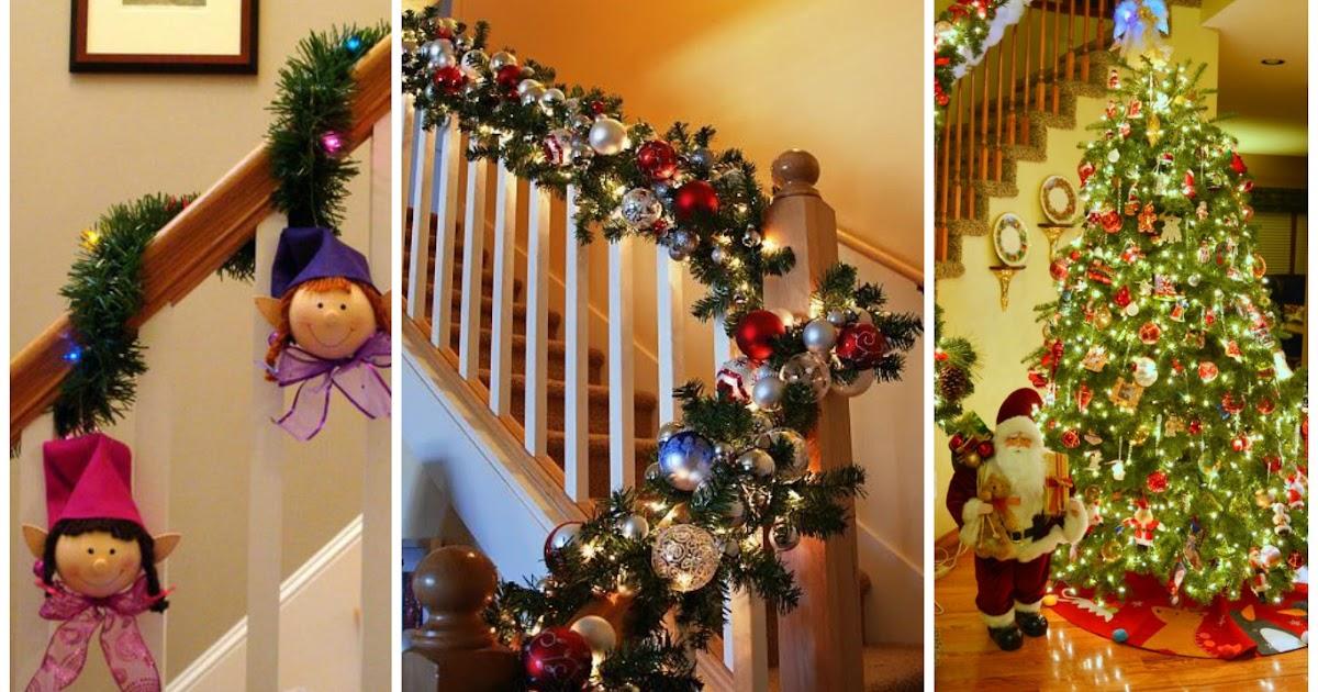 8 maneras de decoraci n navide a con guirnaldas para - Decoracion navidena escaleras ...