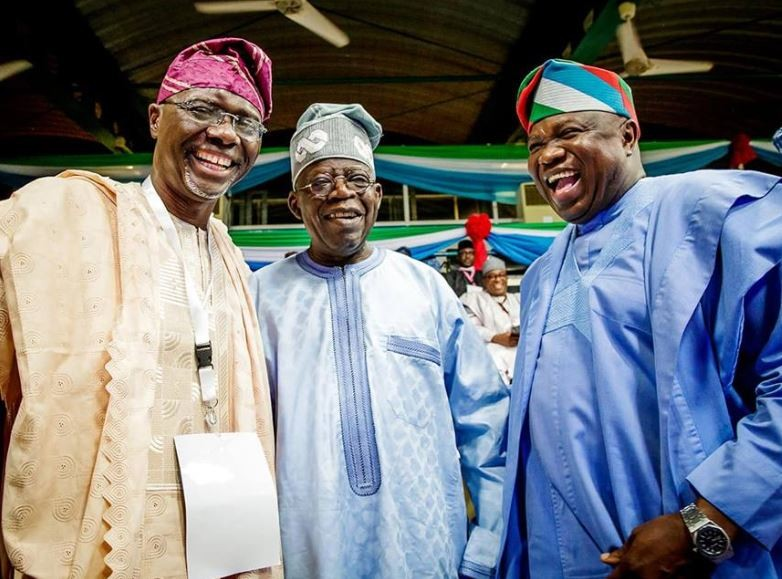 Bola Tinubu, Governor Ambode and Babajide Sanwo-Olu pictured together at the APC Convention