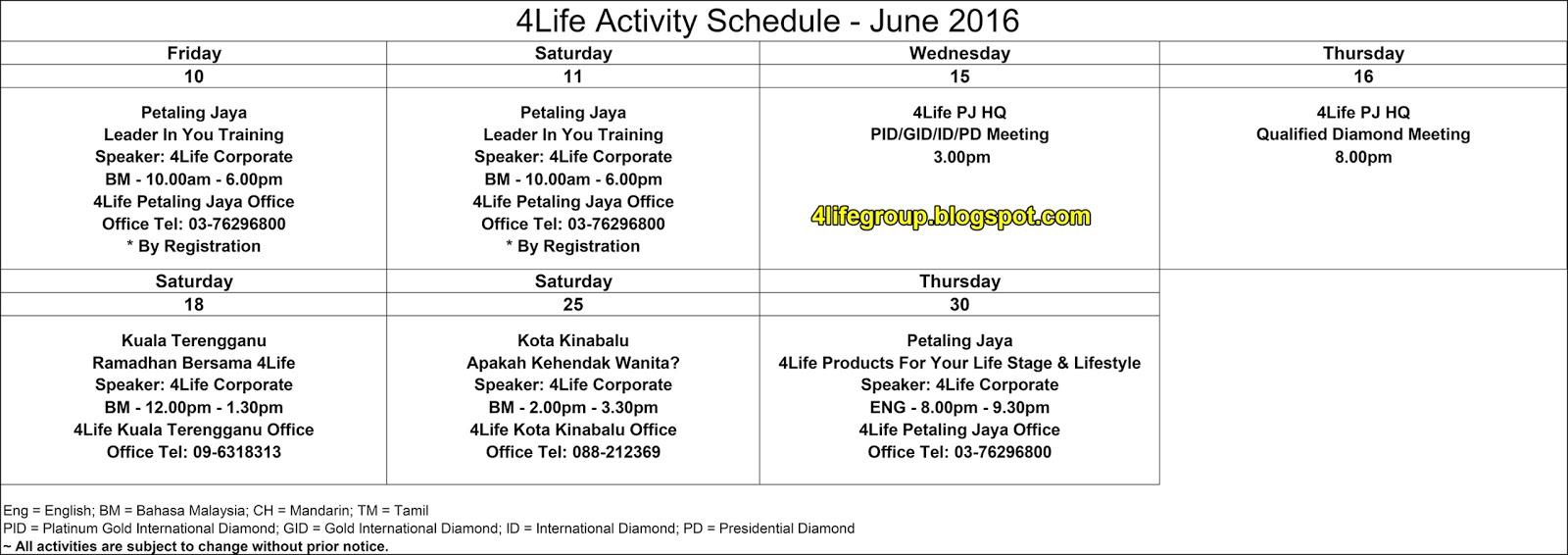foto Jadual Aktiviti Bulanan Jun 2016 4Life Malaysia