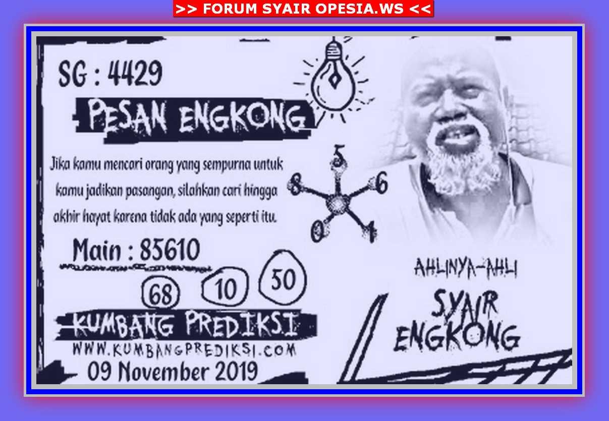 Kode syair Singapore Sabtu 9 November 2019 106