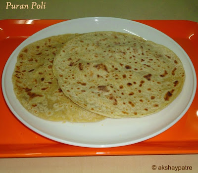 Puran poli in a serving plate