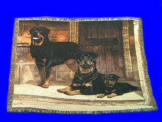 rottweiler blanket throw tapestry afghan pair