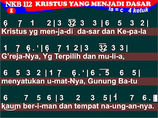 Lirik dan Not NKB 112 Kristus Yang Menjadi Dasar