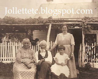Emma Coleman, James Franklin Jollett, Minnie Coleman Maiden, Virginia Maiden 1923 Harriston, Virginia Jollett Reunion http://jollettetc.blogspot.com