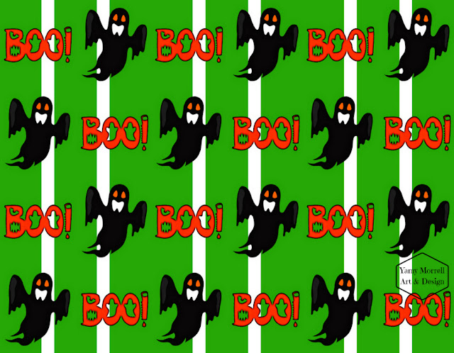 Halloween-ghost-green-pattern-design-by-yamy-morrell